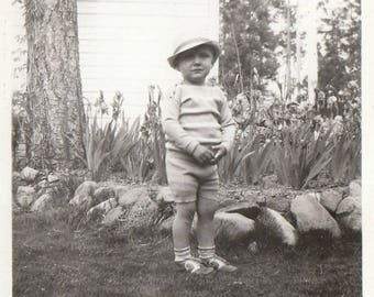 Original Vintage Photograph Snapshot Small Boy Hat 1930s