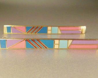 MEMPHIS ENAMEL EARRINGS pierced geometriccolorful signed Isle of Skyes 2 3/8 x1/4 in