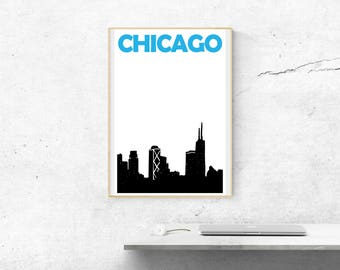 Chicago Print // Chicago Skyline Art Print // Chicago Poster // Chicago Art // Illinois Art / Chicago Gift / City Poster / Gifts for Friends