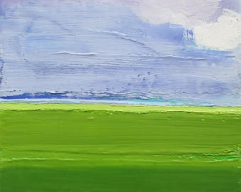 Abstract landscape painting, encaustic and oil painting, green landscape painting, periwinkle skies