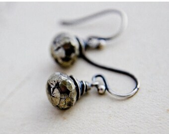 Summer Sale Pyrite Earrings, Drop Earrings, Wire Wrapped, Dangle Earrings, Fools Gold, Sterling Silver, Antiqued, Metallic Earrings, PoleSta