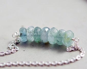 Aquamarine Necklace, Gemstone Necklace, March Birthstone, Stack Necklace, Sterling Silver, Modern, Minimal, PoleStar,