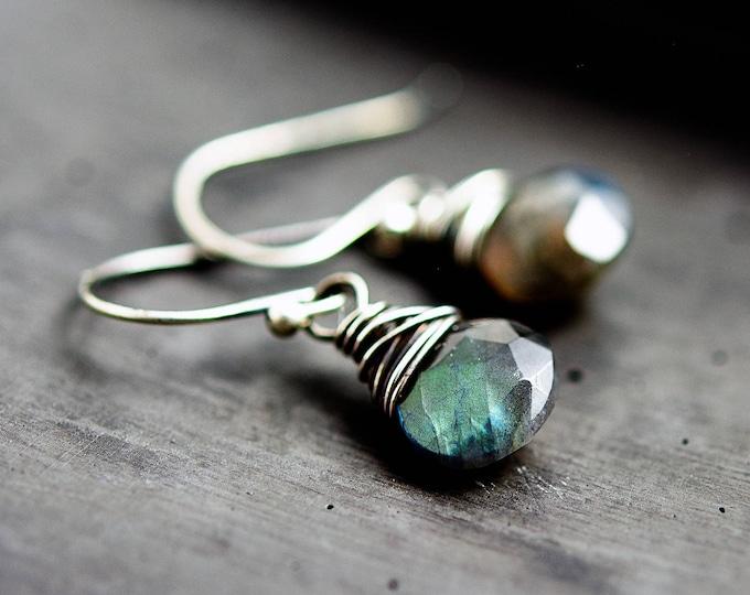Thunderstorm Earrings, Labradorite Earrings, Drop Earrings, Wire Wrapped, Sterling Silver,