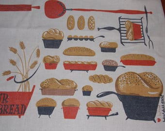 Vintage tablecloth Robert darr Wert signed, darker beige with Give Us Our Daily Bread and bread/containers/utensils print