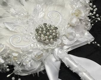Exquisite Lace, Floral and Pearl Ostrich and Goose feather fan bouquet in your choice of sizes