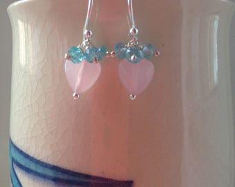 heart earrings, apatite earrings, pink heart jewellery, silver earrings.