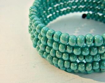 Bracelet, Green Glass Beaded Wrap Cuff: Quay