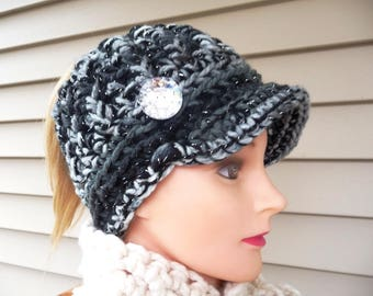 Black and Gray Mix Sparkle Messy Bun Ponytail Newsboy Hat Ready to Ship