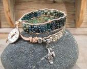 Green earthy Bracelet, Beaded leather bracelet,double wrap, stacking bracelet,beaded leather wrap,Picasso ,bohemian bracelet