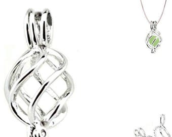 10 * Cages 25x23mm TWIST 5-7mm pearl or bead silver pendant - MERZIEs SHIPs from USA * Combined Shipping