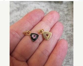 20% OFF SALE 18Kt Gold Vermeil Amethyst Charm, Pair, Trillion Gemstone Black Enamel Pendant Charm Find sterling silver