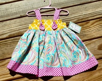 Paisley Dress - Mustare and Pink Dress - Paisley - Birthday Dress - Knot Dress -  Groovy Gurlz