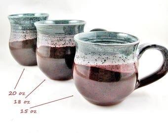 Handmade Pottery Mug in Ox blood and teal green glaze 15 oz 18 oz 20 oz ceramic coffee mug - In stock