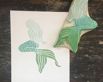 Mermaid Rubber Stamp Hand Carved