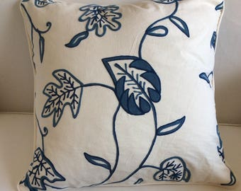 24x24 CASUAL CHIC cotton Blue Crewel  PILLOW cover with piping