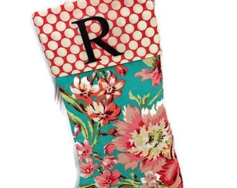 PERSONALIZED CHRISTMAS STOCKING - Pink Amy Butler floral and polka dots - Personalized Christmas Stocking Modern Christmas Stocking .