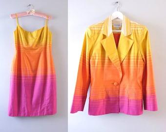 Vintage 80s Designer Suit Set   1980s Designer Emanuel Ungaro Dress Suit Jacket M