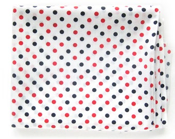 Vintage Polka Dots Cotton Fabric / Red and Blue Dots on White / Lightweight Cotton Yardage / Schwartz Lieberman Textiles / Fourth of July