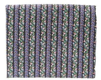Vintage Cotton Yardage - Small Floral Stripes / Pink Roses on Black / Cranston Print Works - V.I.P. Fabrics