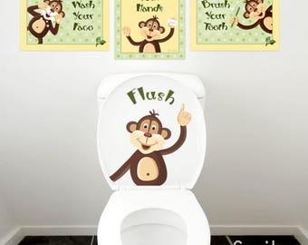 Monkeys Wall Decal for Kids Bathroom Decor, Kids Bathroom Wall Art, Monkeys Wall Art, Bathroom Prints Stickers, Door Sign for Kids Bthroom