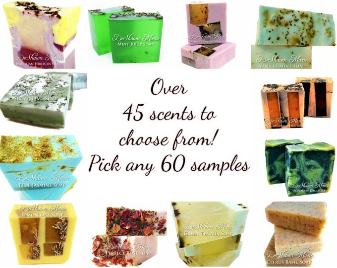SOAP- Sixty 2oz handmade soap samples, vegan soap, natural soap, wedding favors, christmas gifts