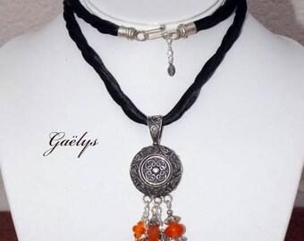 Halcride - collier cornaline et  pendentif argent thai Karen - gaelys