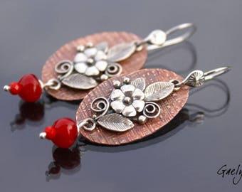 Babette - boucles d'oreille cuivre martelé et feuillage et fleur argent - bo Gaelys