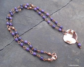 Copper Leaves – Sugilite & Black Tourmaline Copper Necklace with Copper Plated Leaf Pendant