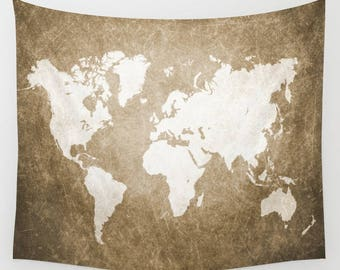 Wall Tapestry Wall Hanging Sofa Throw Design 56 World map brown sepia Home Decor art L.Dumas