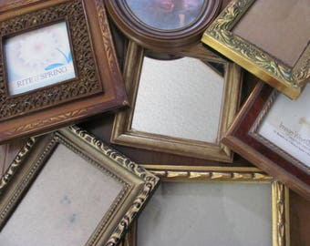 Lot 7 Medium to  Small  Picture Frames, Hollywood Regency , Paris Apt, Wall Gallery, Repurpose