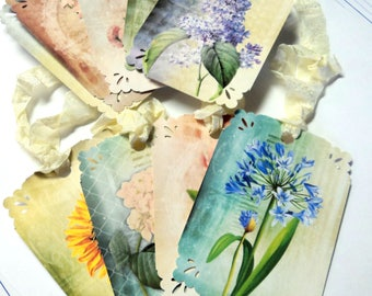 9 Lovely Vintage Flower Gift Tags, Green Blue Teal Pink, Note Tags, Hang Tags, Merchandise, Party Favor