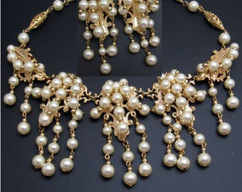 Drippy Pearl Necklace Earrings Set Vintage Napier Renaissance Revival Jewelry S8040