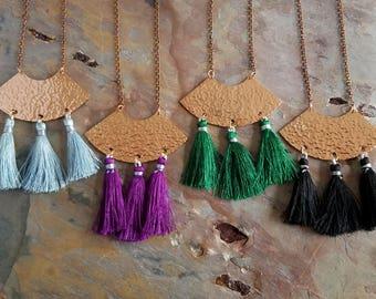 Tassel Necklace, Hammered Copper, Purple, Light Blue, Green, Black, Boho Necklace, Bohemian, Long Statement Necklace