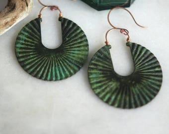 Verdigris Green BOLD Copper Hoops Earrings, Jungle Green, Tribal, Huge, Lightweight, Boho, Bohemian, Giant Fluted Circles