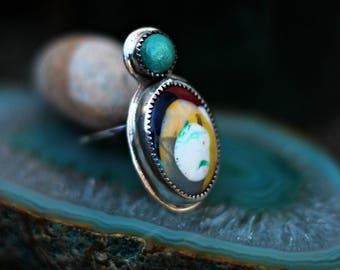 Surfite and Turquoise Ring, Yellow, Red, Black, Multi-Colored Ring, Sterling Silver, Hand Stamped, Boho, Bohemian, Statement