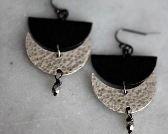 Black and Silver Moon Goddess Earrings, Lunar Phase Dangles, Crystal Dangles, Celestial Earrings, Crescent Moon, Half Moon