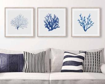 Coral Prints, Blue Coral Watercolour Prints Set of 3, Hamptons Wall Art, Coastal Prints, Underwater Sea Prints