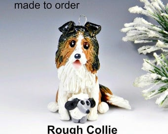 Rough Collie Dog Made to Order Christmas Ornament Figurine in Porcelain