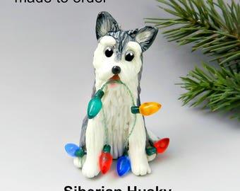 Siberian Husky Dog PORCELAIN Christmas Ornament Figurine Made to Order