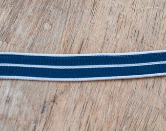 3 yards Woven Stripe  - Vintage Trim Mod Braid Upholstery New Old Stock Woven Navy Blue