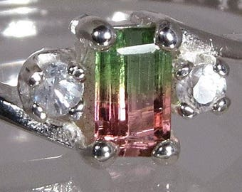Watermelon Multi Color Tourmaline .39 ct with White Sapphires .11 ctw Handset in .925 Sterling Silver Ring - Fast Free Shipping & giftwrap