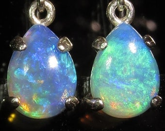 Australian Opals 1.56 ctw  / .925 Sterling Silver Earrings /  Fast Free Shipping / Free Gift Box  / Free Gift Wrap