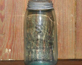 Antique Aqua Blue Mason Jar Embossed S over Mason's Patent 1858 Quart Zinc Lid Bottom marked A 2