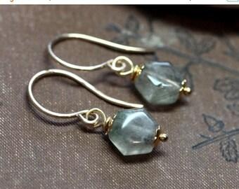 SALE Rutilated Quartz Earrings Gold Earrings Natural Gemstone Earrings Rustic Jewelry