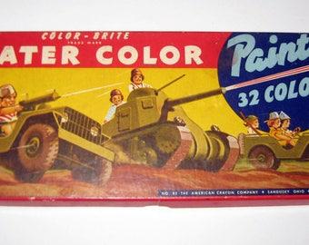 Vintage Color-Brite Water Color Paints -  32 Colors - American Crayon Company