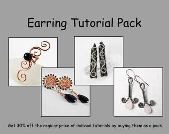 SALE - Earring and Ear Cuff Tutorial Pack - Wire Jewelry Tutorials - Save 30%