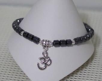 Anklet / Ankle Bracelet - Gemstone - Black Hemalyke - Rhodium Om Charm - All Sizes