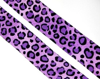 Purple and Black Leopard Neck Cooler Cool Tie Scarf in Cotton with Expandable Crystals