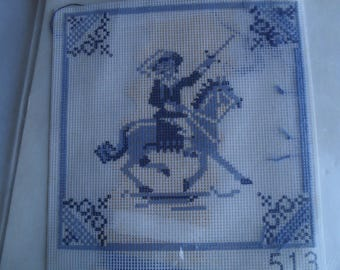 Counted Cross Stitch NeedlePoint Embroidery Needle Kit DMC Horse Sword Rider