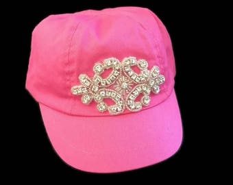 "Toddler Girl Baseball Cap, Photo Prop, Bling Visor Hat, Pink Party, Trendy Toddler Baseball Cap in Pink with Rhinestone Applique- ""Cali Kid"""